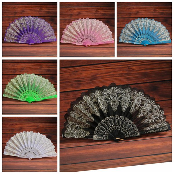 Folding Hand Held Flower Fan 9 Colors Summer Chinese/Spanish Style Dance Wedding Lace Colorful Fans Party Favor KKA7298
