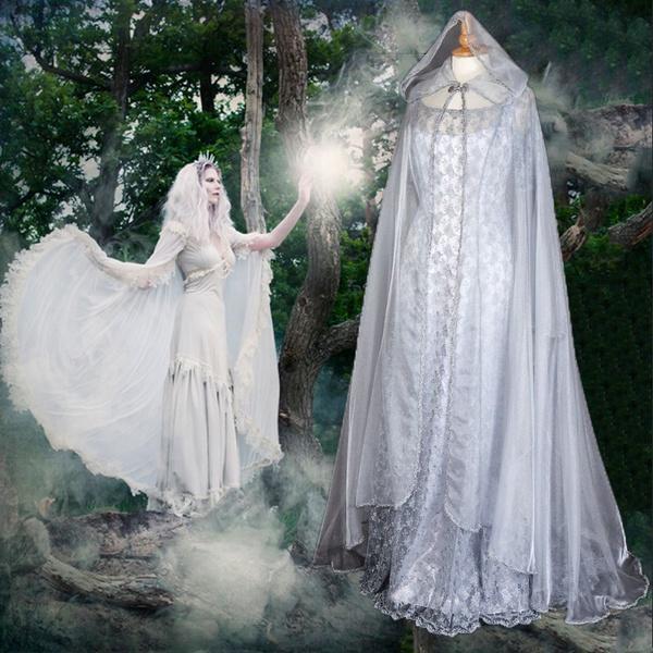 Fairy Косплей Pixie с капюшоном платье или средневековый стиль Ренессанс Длина пола платье