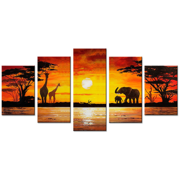 Unframed 5 Pieces Giraffe Animal Canvas Wall Art Picture Elephant Prints on Canvas Painting Artworks for Living Room Home Decoration Gifts