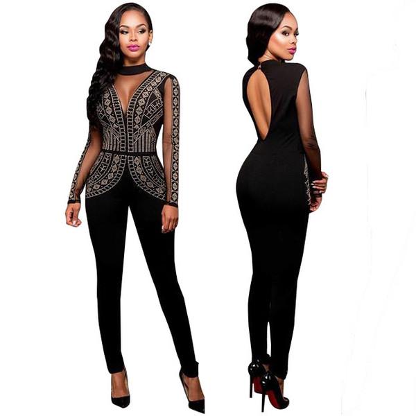 5d67d6e9ec16 Sexy See Through Women Jumpsuits Fashionable Ladies Rhinestone Black Bodysuits  Plus Size Club Wear Skinny Jumpsuits Long Sleeve