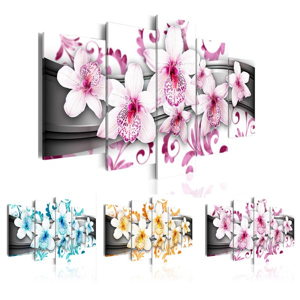 5PCS/Set Abstract Flower Melody Blue - Pink-Orange Art Print Frameless Canvas Painting Wall Picture Home Decoration No Frame