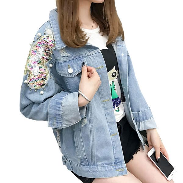 Sonbahar Ceket Kadınlar 2019 Ağır Çalışma Boncuklu Sequins Denim Ceket Moda Ceket Jean Gevşek Bombacı Üst Kadın Giyim TY231