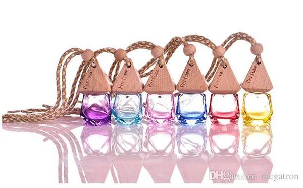 6 ml colore misto decorazione di caduta dell'automobile di vetro olio essenziale bottiglia di profumo Hang bottiglia vuota della corda libera il trasporto