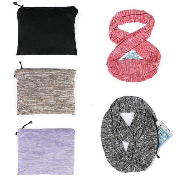 Mulheres Quente Loop Cachecol Infinito Envoltório Escondido Zipper Pocket Cachecóis Viagem Casal Inverno Anel Cobertor Envoltório Cachecóis TTA1288