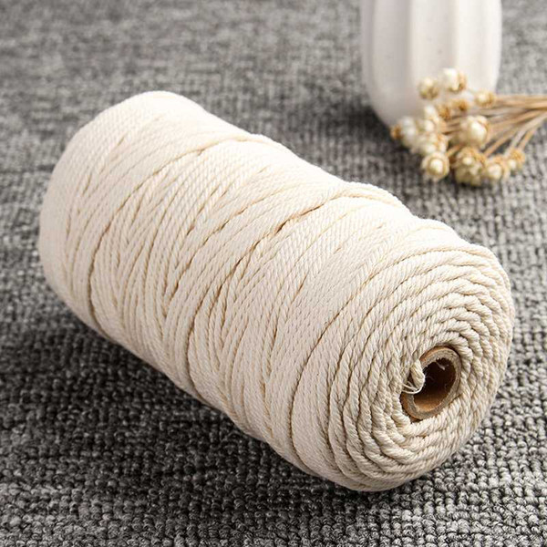 top popular 3mm*200m White Beige Cotton Twisted Cord Wire Rope Macrame Artisan String Tool 2021