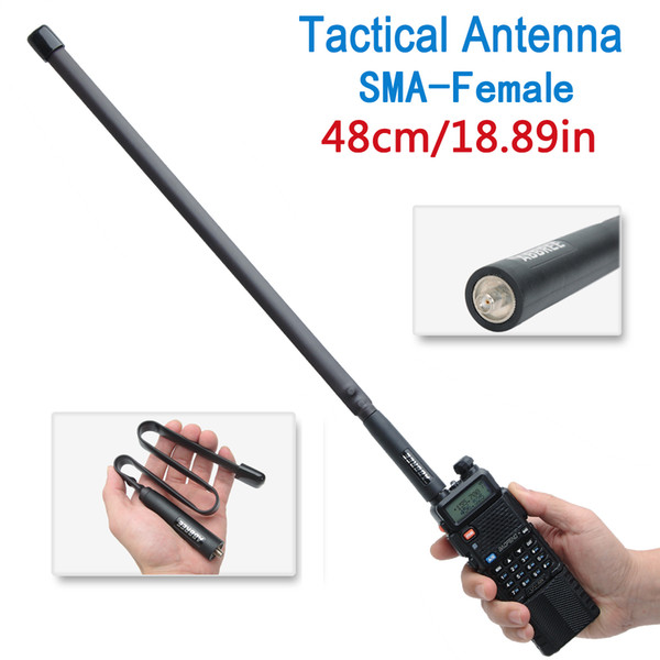 best selling Abbree 48cm 18.89inch Tactical Antenna SMA-Female Dual Band VHF UHF 144 430Mhz Foldable For Walkie Talkie Baofeng UV-5R UV-82 UV5R BF-888S
