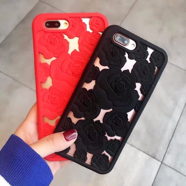 For iphone 7 3D Rose Flowers Soft rubber Silicon Phone Back Cover Cases For iPhone 6s plus 7 8 Plus X couple Gifts