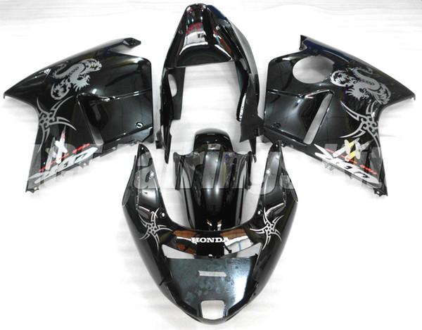 Haute qualité Nouveau ABS moto moto Carénages Kits Fit Pour HONDA CBR1100XX 1997-2007 CBR1100XX 97-07 carrosserie personnalisé Carénage noir argent