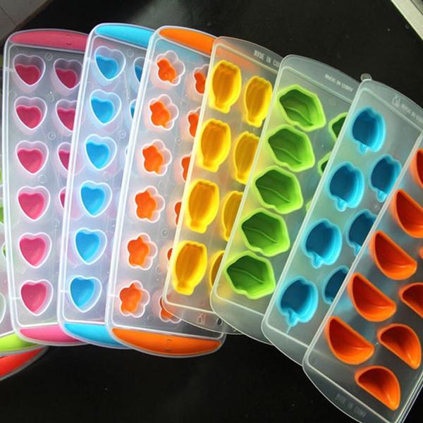 Vendita all'ingrosso Ice-making Box stampo per utensili da cucina in cucina Gomma vassoio del cubo di ghiaccio creatore di frutta creatore congelare stampo vassoio del cubo di ghiaccio BC BH0632