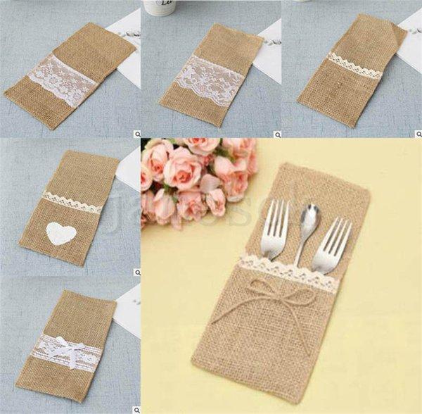 7 stile vendita diretta della fabbrica stile europeo giallo lino coltelli posate di pizzo forchette borse decorazione forniture per feste di nozze borsa da tavola dc671