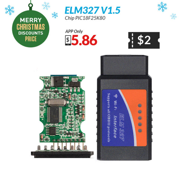 2019 ELM327 OBD2 Bluetooth/WIFI V1 5 Car Diagnostic Tool ELM 327 OBD II  Scanner Chip PIC18F25K80 Work Android/IOS/Windows 12V Diesel From