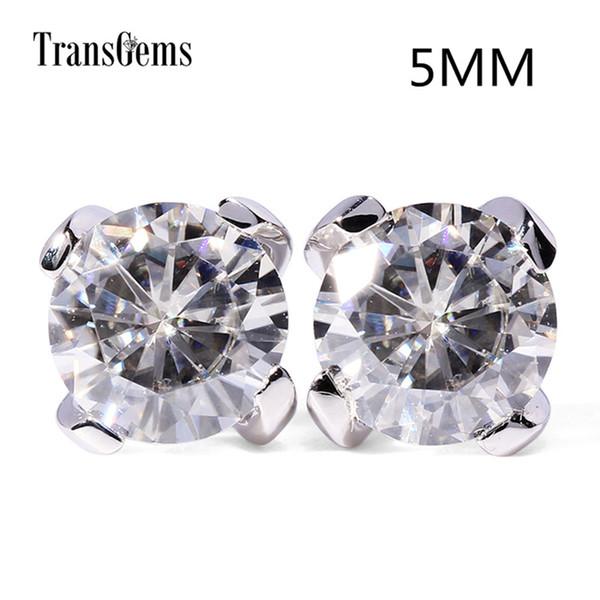 Transgems Klasik Kadınlar Için 14 k 585 Beyaz Altın Mozanit Earrrings 1ctw 5mm 0.5ct F Renk Mozanit Saplama Küpe Y19032201 Geri Itin
