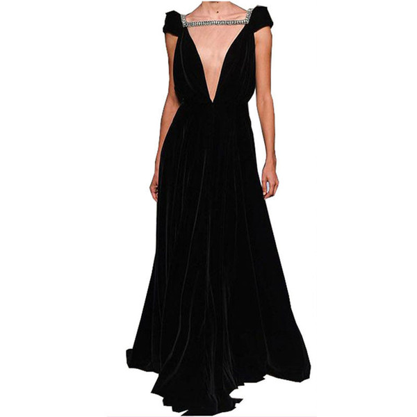Chic Black Chiffon Beading A-line Prom Dress Long Custom Made Formal Maxi Gown Open Back Sexy Party Prom Gowns Vestidos De Noiva