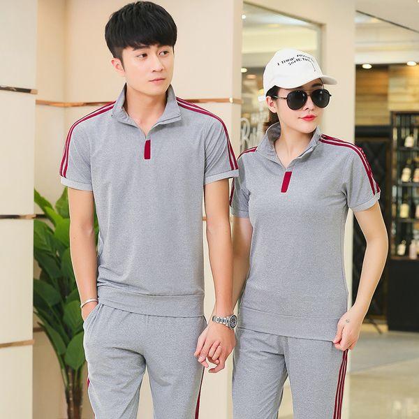 Sommer Männer Sportswear Frauen Trainingsanzug Kurzarm T-shirt Sweatshirt + Hose Lover Running Jogger Übung Casual Outfit Sport Set