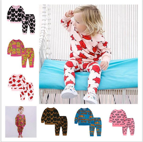 INS Kids Spring Autumn Outfits Long Sleeve Hoodies Sweatshirt + Pants 2 Piece Set Boys Girls Sweater Trousers Tracksuit Sportswear Clothing