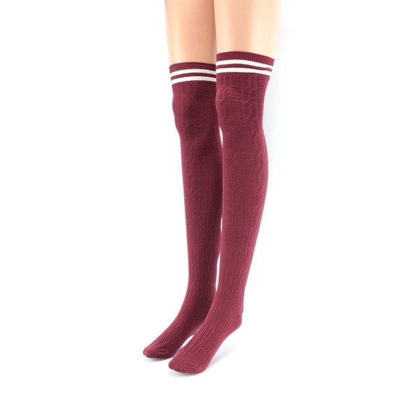 1 pair Fashion Women Girls Polyester Cotton Soft Thigh-High Winter Warm Over The Knee Striped Knitted Stocking medias de mujer