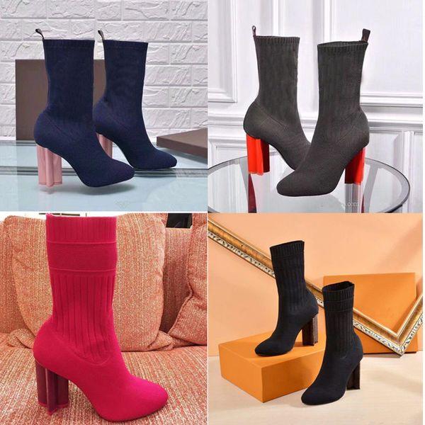 2019 seksi marka kadın ayakkabı sonbahar ve kış Örme elastik çizmeler Tasarımcı Kısa çizmeler çorap çizmeler Büyük boy Yüksek topuklu ayakkabılar