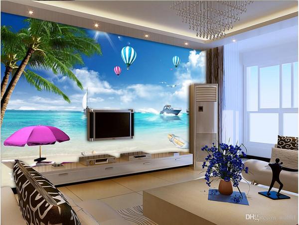 3d Wallpaper Interior Decoration Custom Wall Seaside Coconut Tree Oil Tanker Landscape Mural Murals Wallpaper For Walls 3 D High Resolution
