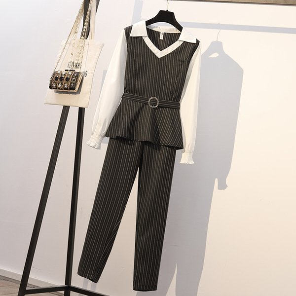2019new Arrival Suit Spring New Korean Fat Mm Plus Fertilizer To Increase Fashion OL Color Matching Stripe Thin Suit with XL-5XL Availiable