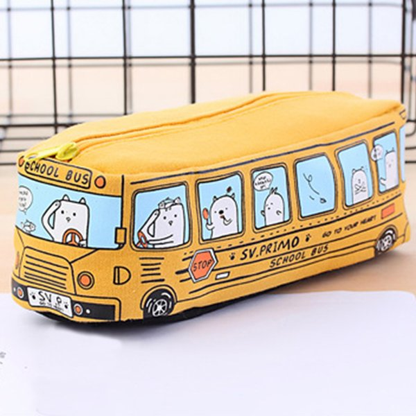 Hot New Animal School Bus Lápis Saco de Papelaria Lápis de Lona Escritório Escola bolsa de Armazenamento De Papelaria Drop Shipping ~ 3