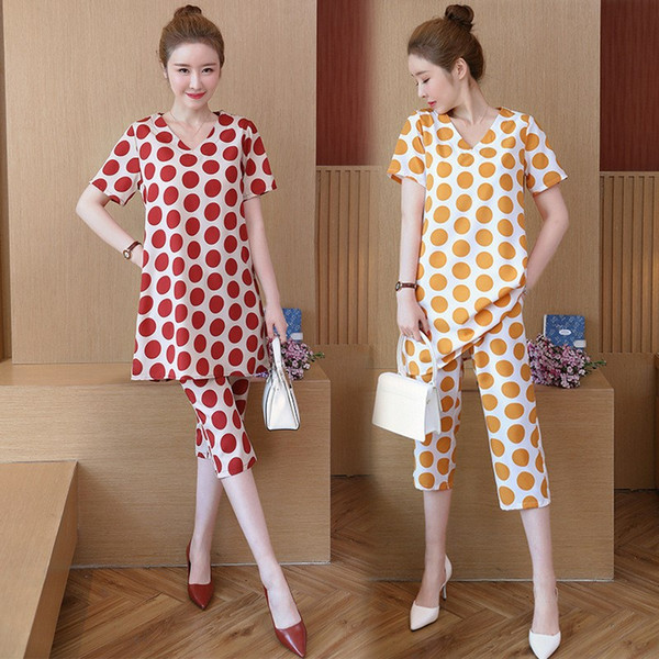 Yellow Red Two Pieces Summer Set 2019 Women Outfits Pant Suits Ladies Plus Size Polka Dot Tops Tracksuit Clothing