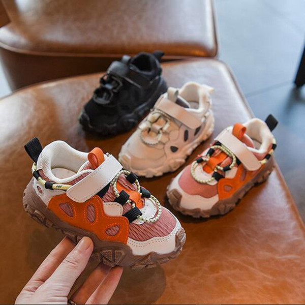 Kids Fashion Biscuits Design Shoes Boys Girls Hook Shoes Breathable Ins Popular Black+Beige+Orange Size 21-30 Baby Christmas First Walkers