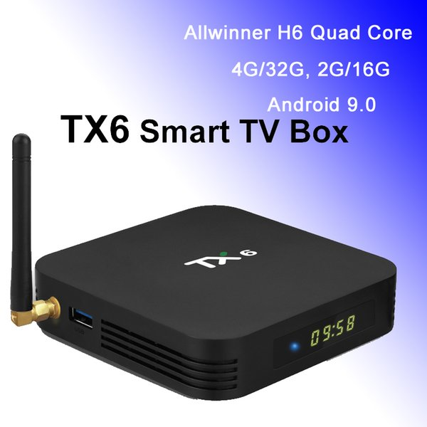 TX6 Android 9.0 TV Box Allwinner H6 Quad Core 2.4G Wifi Media Player 4K Ultra HD Set Top Boxes 4GB RAM 32G ROM 2G16G TVbox Android9.0 USB3.0