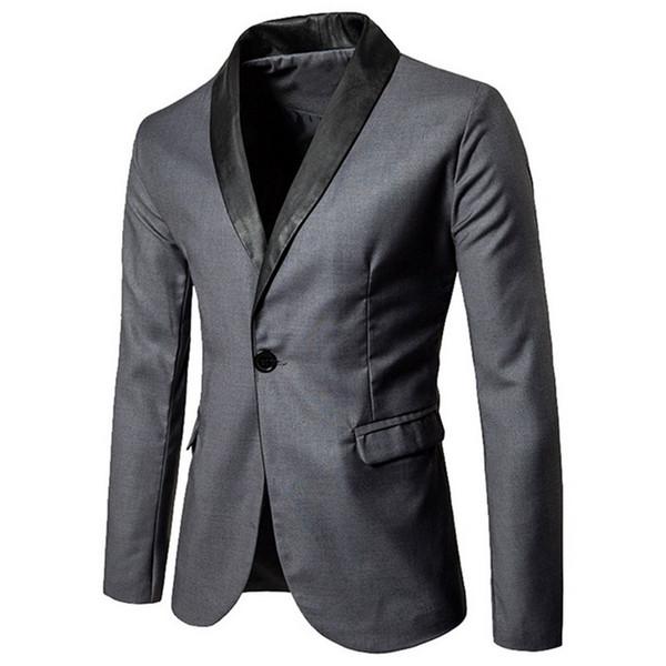 Hot Men Blazer Suit Fashion Men Faux Leather Patchwork Slim Business Suit Male Casual Blazer Coats Jackets