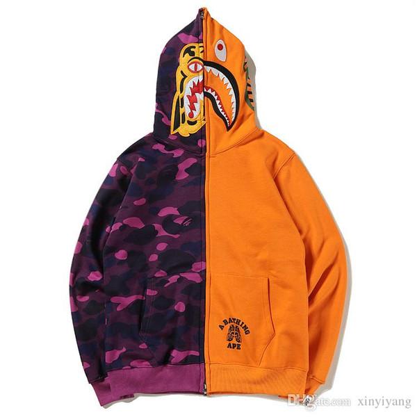 Vente chaude Requin Bouche Imprimé Orange Pourpre Camo Patchwork Hoodies Orange Bleu Camo Cardigan Hoodies Tops