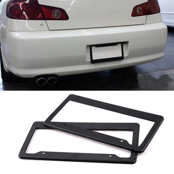 Carbon Fiber Painted Twill License Plate Frame Car Licence Plate Covers Slim Design Shiny Surface for US Canada Vehicles