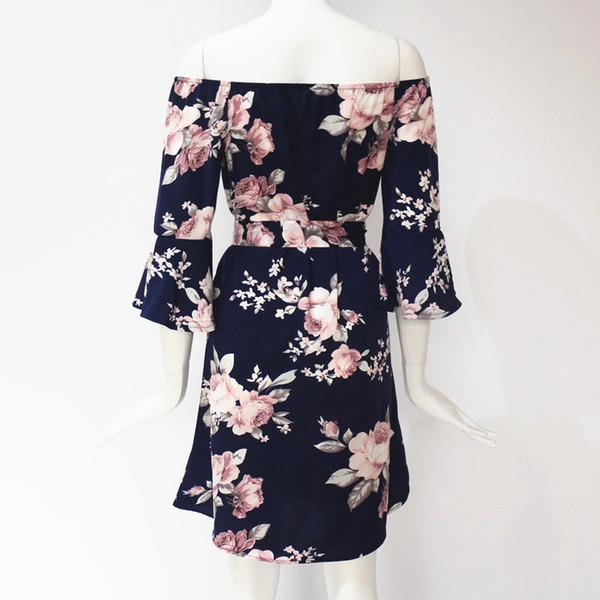 60e78d71eba3 chen long Women Dress 2019 Summer Sexy Off Shoulder Floral Print Chiffon  Dress Boho Style Short