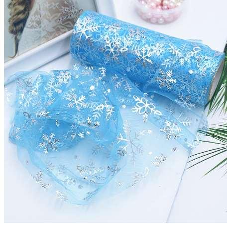 15cmx10Y Snowflake Tulle Roll Baby Skirts Tulle Sewing Mesh Fabric DIY Tutu Skirt Organza Birthday Party Christmas Craft Decor