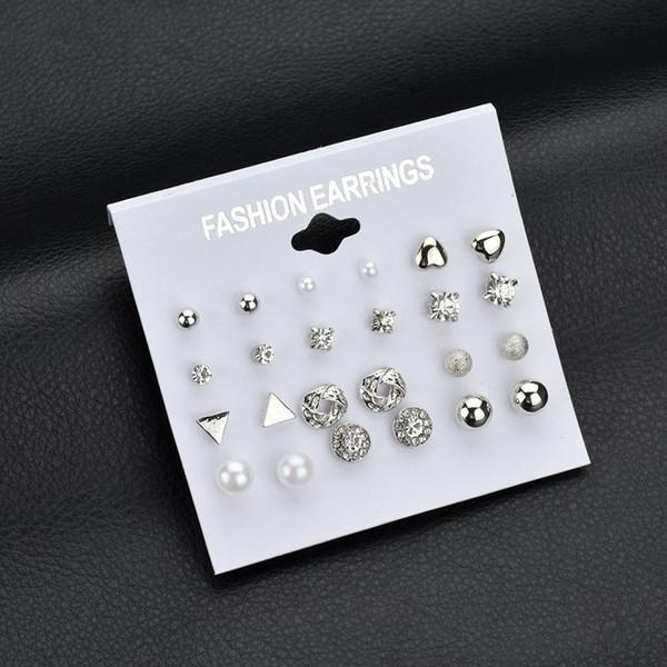 12 пар женской моды комплект ювелирных изделий квадратные серьги с бриллиантами серьги серьги циркон сердце милый шар жемчужные серьги серьги шпильки золото