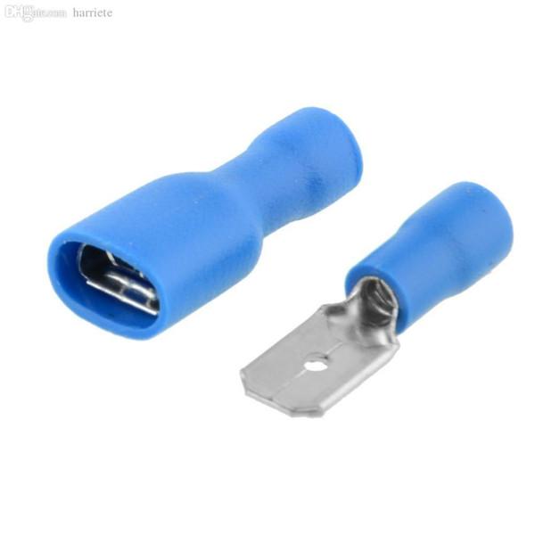 Venta al por mayor-100X Azul aislado Cable de alambre eléctrico Terminal Crimp Assorted Connector Spade Kit Set