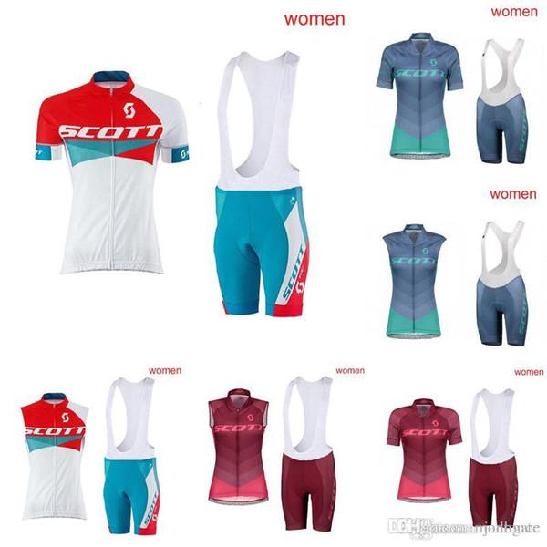 NEUE Ankunft SCOTT Frauen, die kurze Hülsen Jersey-Sommer bequeme kurze Trägerhose schnelles trockenes Fahrradsportabnutzungs-Fahrradkleidung E60912 radfahren