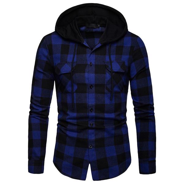 2019 new Plaid Men Shirt Long Sleeve Lattice Painting Hoodie Large Size Casual Men Slim Fit hoodies sweatshirts clothing