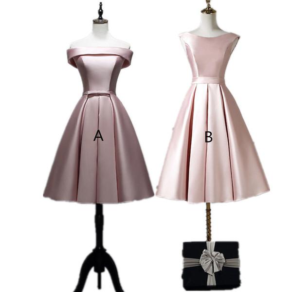 Blush Pink Satin Vestidos de dama de honor cortos con cordones 2019 Vestido de fiesta hasta la rodilla Robe De Soiree