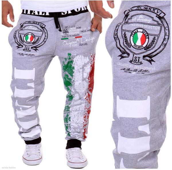 Мужчины Бегуны Мода Италия Флаг Печати Бегунов Случайные Свободные Черный Синий Белый Хип-Хоп Мужские Брюки M-XXL