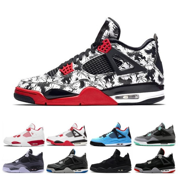 Bred 4 4s Basketball Shoes Pure Money Premium Black Cat white cement Fire red Fear Alternate sports designer shoes sneakers free shipping