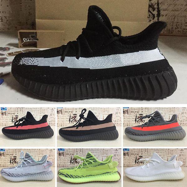 adidas yeezy boost 350 v22019 V2 Kanye West Gerçek Formu Hipertansiyon Kil Statik Yansıtıcı Koşu Ayakkabıları Beluga 2.0 Krem Beyaz Tonu Kadın Spor Sneakers