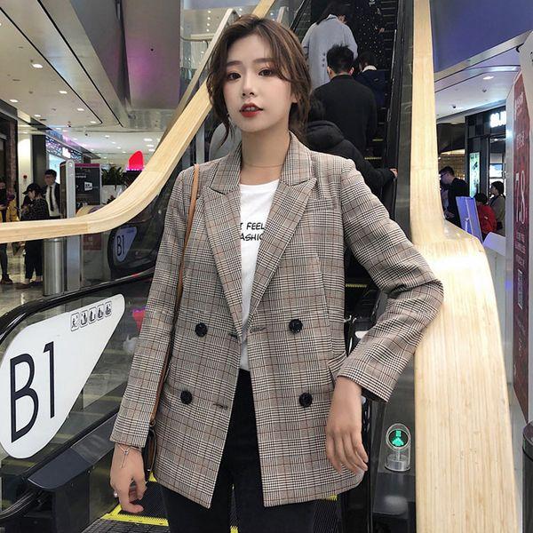 Giacca da collo a intarsio casual Giacca da donna Giacca da donna chic a doppio petto manica intera Capispalla 2019 Elegante abbigliamento da lavoro