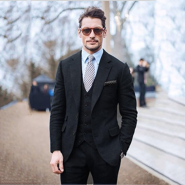 Suit Men Black Men Tweed Suits Jacket Elegant Suits For Wedding Groom Tuxedo Slim Fit Winter Formal 3 piece