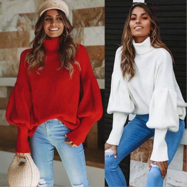 Mulheres outono e inverno blusas Europa e nos Estados Unidos moda gola alta lanterna mangas camisola mulheres