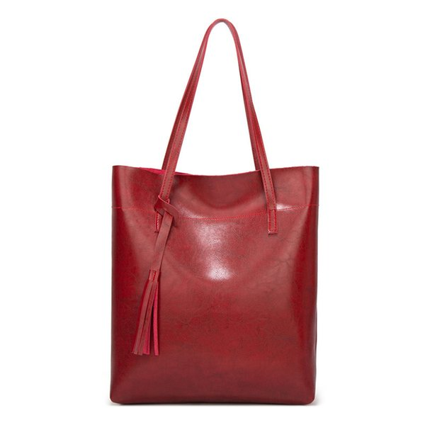 Женщины Посланник Сумки Кожа Повседневной кисточка сумка Женского дизайнер сумка Vintage большого размер плеча Tote Bag качество