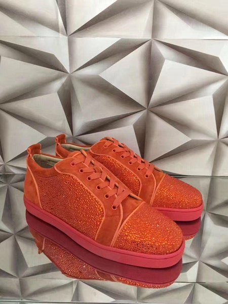 Sneaker bassa di strass di lusso arancione di design perfetto per donna, scarpe da passeggio casual da uomo di marca da festa