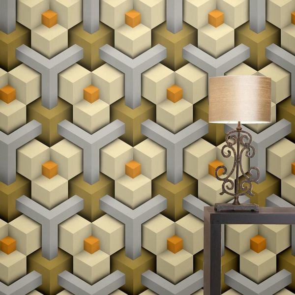 Papel 3D geométrico Wallpapers moderno para Paredes desenhos coloridos pvc vinil Wallpaper Sala Quarto Background