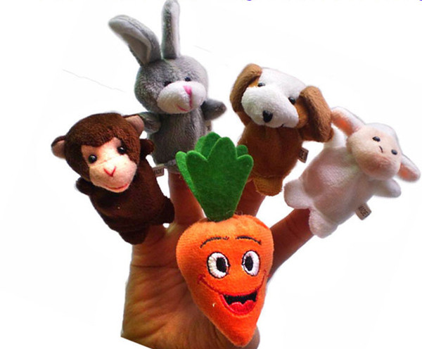 50pcs=10 lot Finger Puppet Tell story baby plush toys RPG use Role play Doll Hand Puppet rabbit Carrot Animal Toy Group
