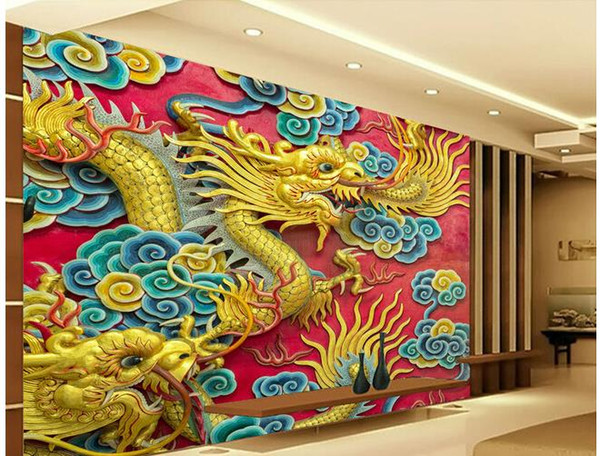 Compre Personalizado Foto De Cualquier Tamaño Hd 3d Golden Dragon Cloud Double Dragon Wall Mural De La Pared Fondo De Pantalla A 4021 Del