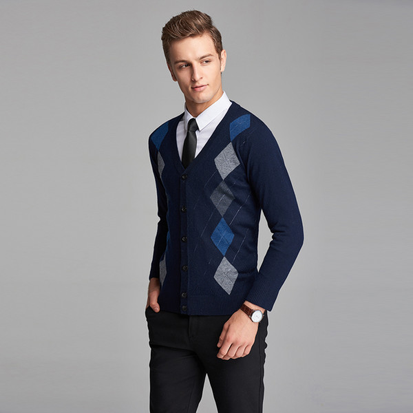 plaid checked button knit wool cardigan long sleeve argyle pattern mens cashmere sweater cardigan