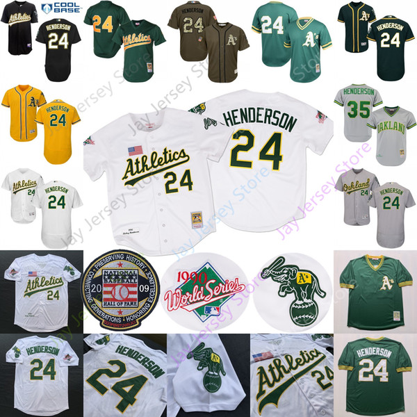 Rickey Henderson Jersey Hall Of Fame Patch 1990 WS 2009 HOF Hall Of Fame Oakland Bianco Giallo Verde